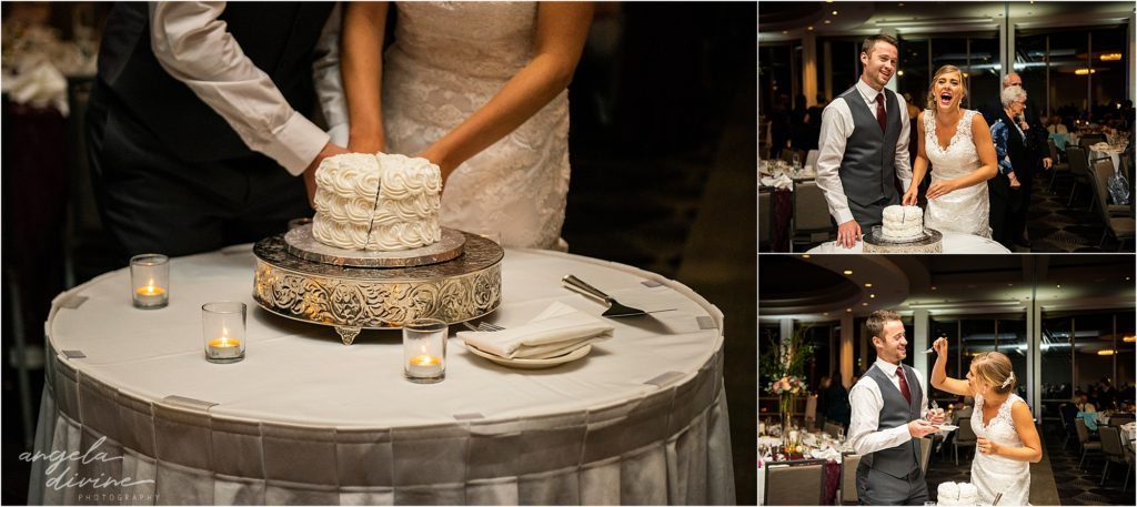InterContinental St. Paul Riverfront Wedding reception cake cutting
